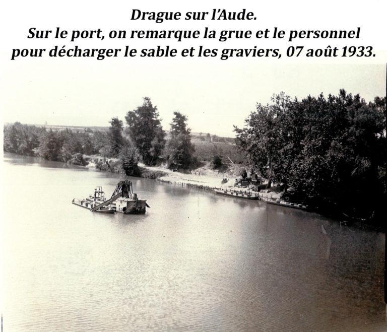 Drague sur l'Aude 1933